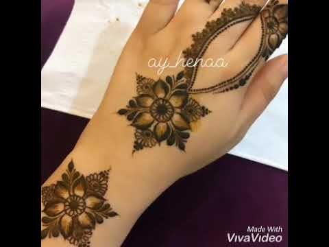من اجمل نقوش الحنا الخليجي Youtube Henna Flower Tattoo Tattoos