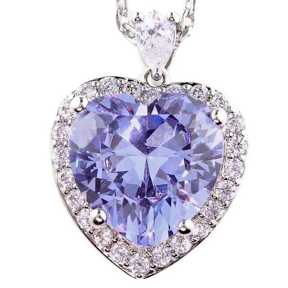 Heart of Ocean Large Halo Heart Necklace Pendant Birth Month Colors - June Simulated Alexandrite
