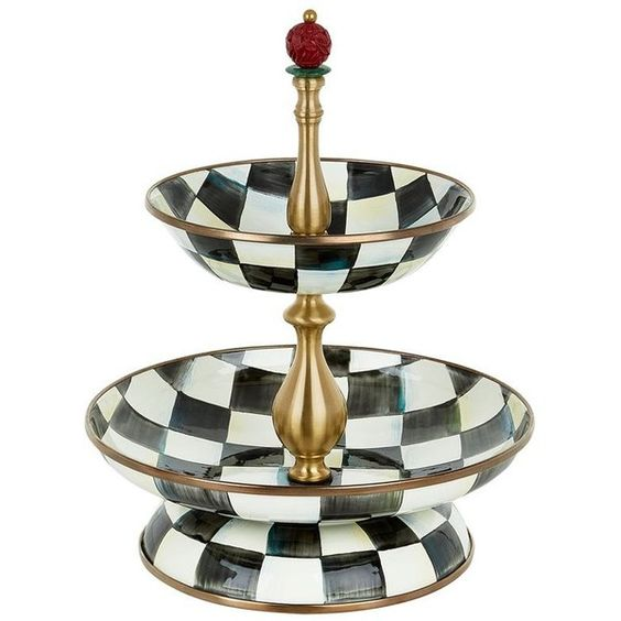MacKenzie Childs Courtly Check Enamel Two-Tier Compote ($275) ❤ liked on Polyvore featuring home, kitchen & dining, serveware and mackenzie-childs