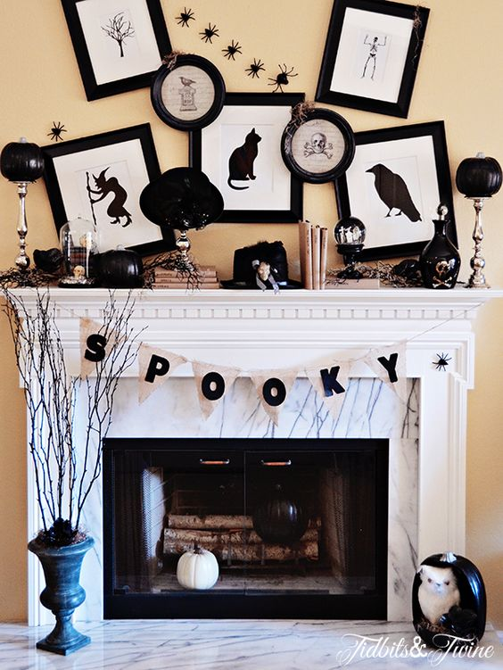 A Black & White Halloween Mantel                                                                                                                                                                                 More: