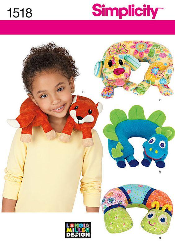 PATRÓN de costura / hacer Almohadas cervicales de animales para niños / Fox - perro - dinosaurio - Bug / ideal para viajar