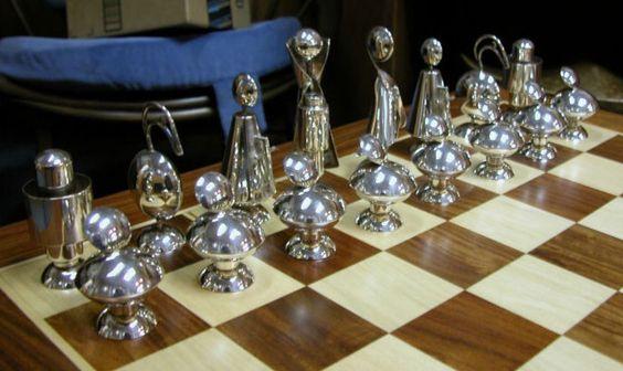 cool figural futuristic silver chess set mid century