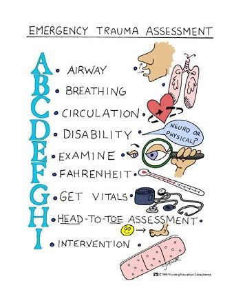 Emergency Trauma Assessment --good idea to draw or paint and put in a frame for a Nursing friend!