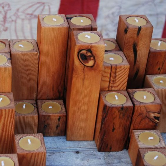 recycled pine candle holders with beeswax votives, Peg and Awl