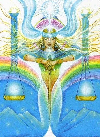 Justice (Return) by Pamela Matthews (Aura-Soma New Aeon Tarot)