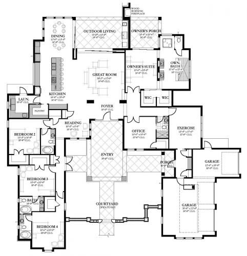 Home Building Construction Floor Plans House Plans Courtyard House Plans Front Courtyard