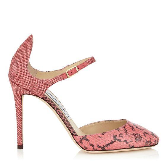 JIMMY CHOO Coral Pink Gloss Elaphe And Fine Raffia Round Toes - £550.00