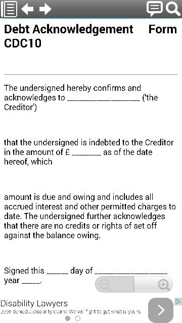 Debt Acknowledgement legal form template from smartphone legal - acknowledgement of cash received