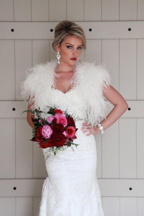 Plume Wedding Ostrich Feather Bolero by ModeandAffaire on Etsy