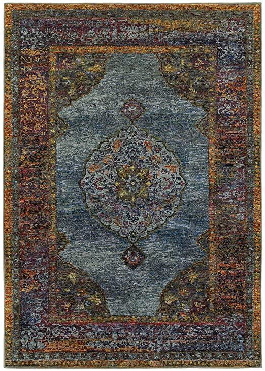 Moretti Glow Area Rug 7139a Traditional Blue Rings Petals 10 X 13 2 Quot Rectangle In 2020 Rugs Oriental Weavers Area Rug Collections