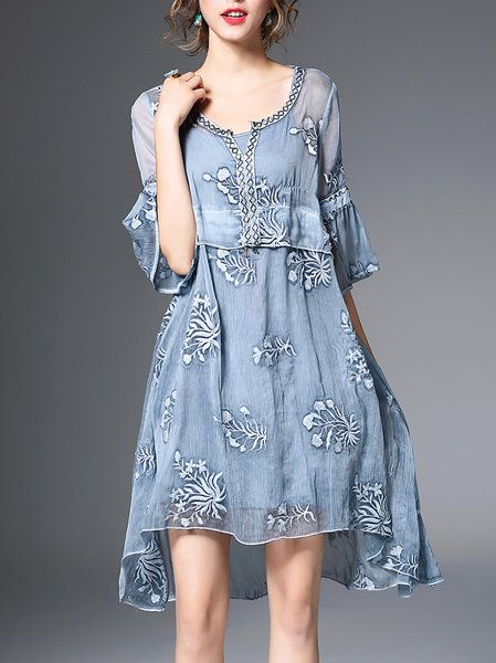 Light Blue Embroidered Two Piece Crew Neck Sweet Midi Dress: