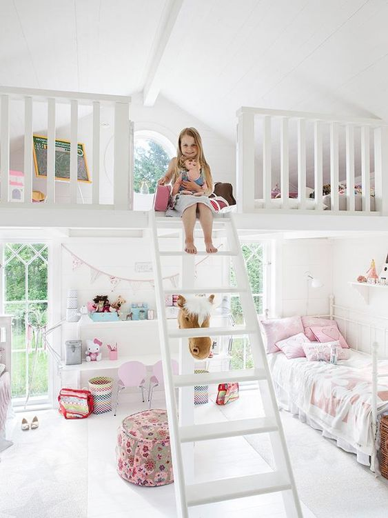 Start with the play area upstairs when young, but I think I'd prefer upstairs to be the bed and have the downstairs for play, and eventually a desk and workspace when they get to school age.: