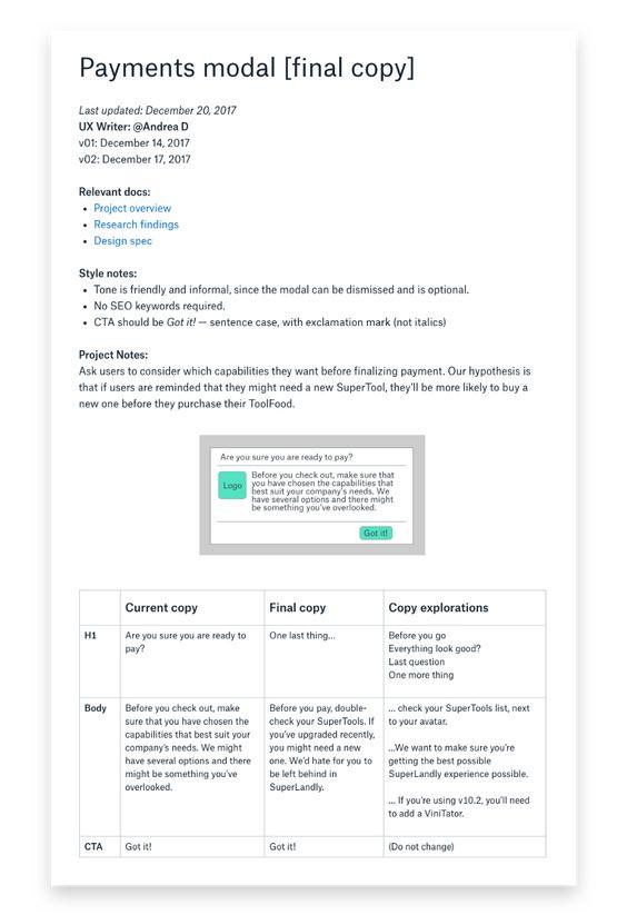 How to improve your design process with copy docs Design process - copy business blueprint workshop