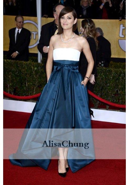 Marion Cotillard White Blue Evening Prom Celebrity Dress SAG Awards 2013