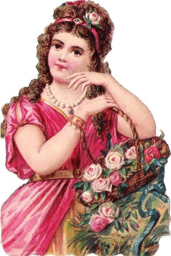 Oblaten Glanzbild scrap die cut chromo Dame lady girl Korb Rose Mädchen Sommer: