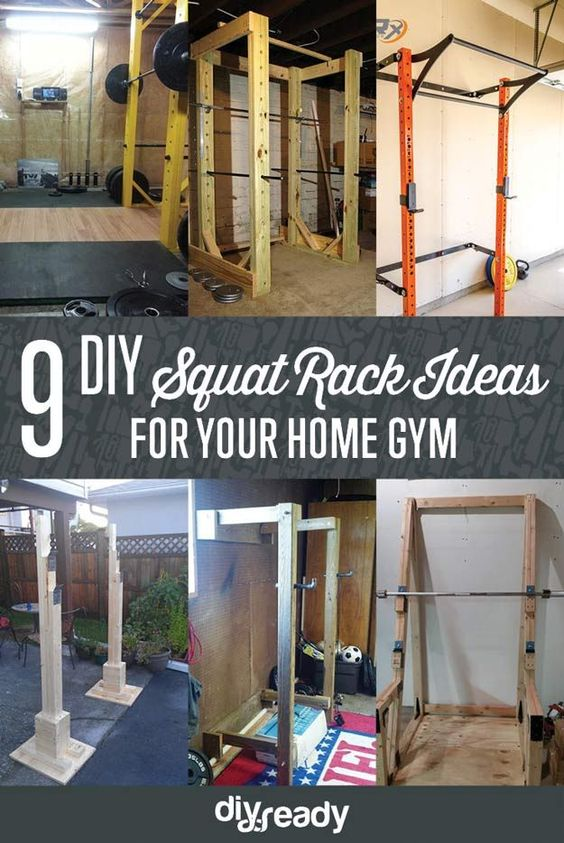 9 DIY Squat Rack Ideas | Cool And Awesome DIY Projects For Fitness by DIY Ready at http://diyready.com/diy-squat-rack-ideas/