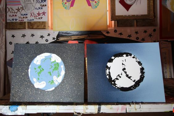 This pair of (16 x 20) canvases depicts our world and a sign of peace. The thought of world peace is tough to comprehend. Regardless of