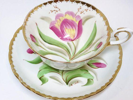Tuscan Tea Cup and Saucer Antique Teacups Vintage Tea Party