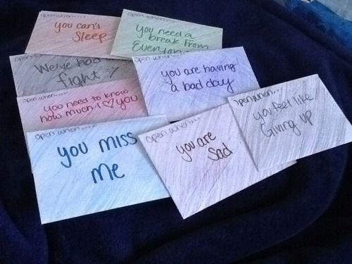 lessthanslash3:  These are the Open When… Letters my girlfriend did.  Open When - You miss me - You need to know how much I love you - We've...