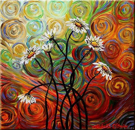 Psychedelic Daisies Art Oil Paintings