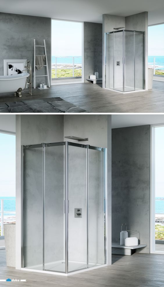 Acqua R 5000 A Corner Entry Shower Enclosure With Two Sliding Door Elements Can Be Your Poin Corner Shower Enclosures Shower Enclosure Contemporary Bathrooms