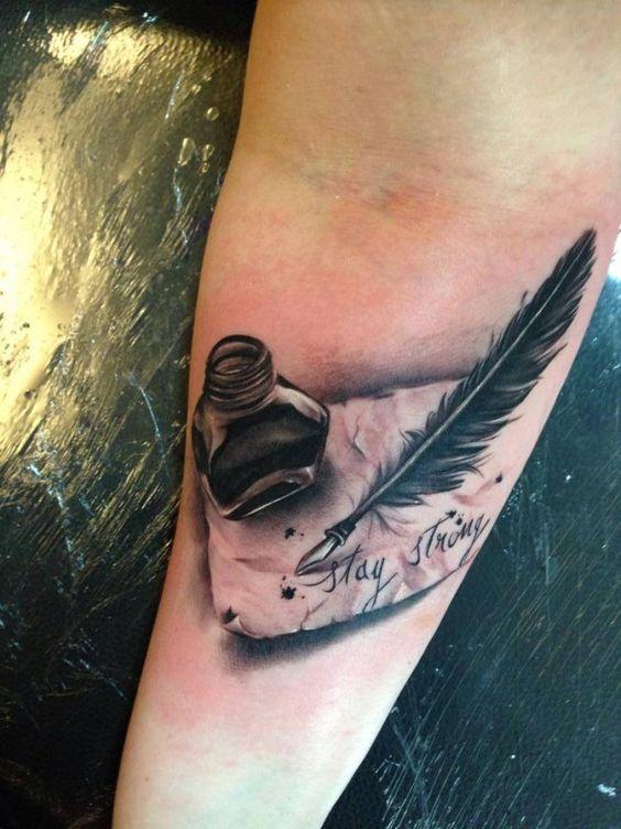 Tattoo Tintenfass und Feder