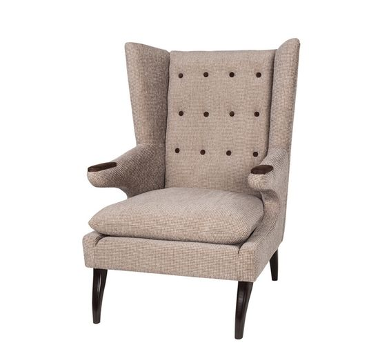 I love this chair and it was so comfy to sit in! It reminds me of those tweed jackets w/ the patches on the elbows. Graduate accent chair at Urban Barn