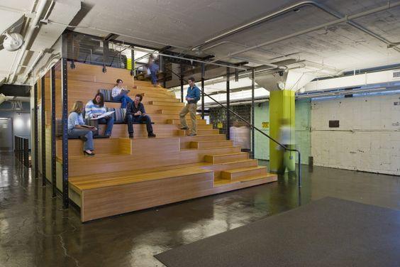 Architect office interior design wooden bleacher for Office stairs design