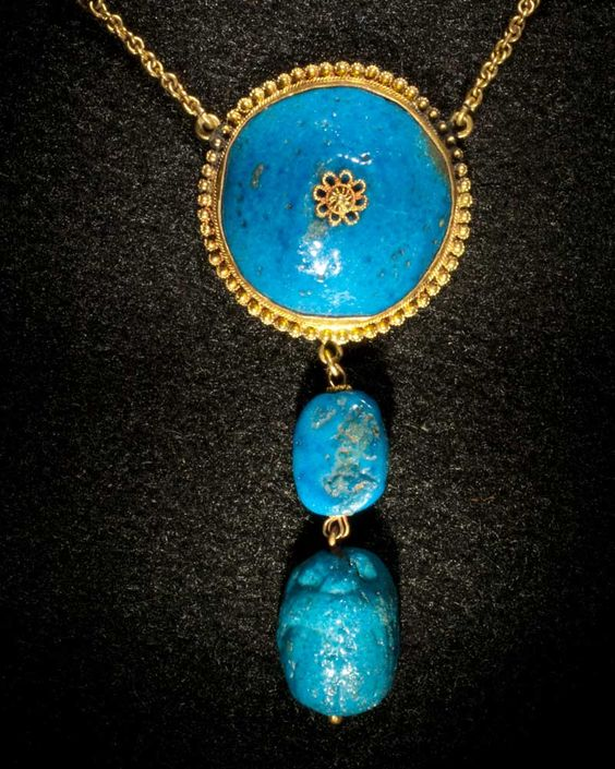 An Egyptian Azure-glazed Scarab Necklace, 18th Dynasty, Amarna Period | Sands of Time Ancient Art