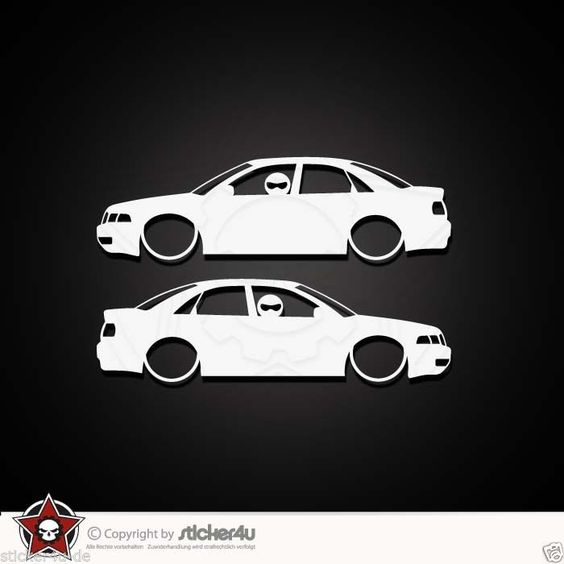 (844) 2x low and slow Audi A4 B5 Sticker Aufkleber VAG Turbo quattro s line RS4