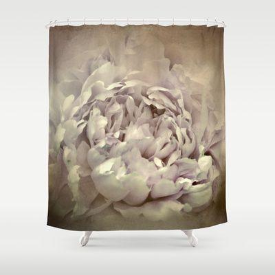Blushing Dutch White Peony - Floral Shower Curtain by Jai Johnson - $68.00