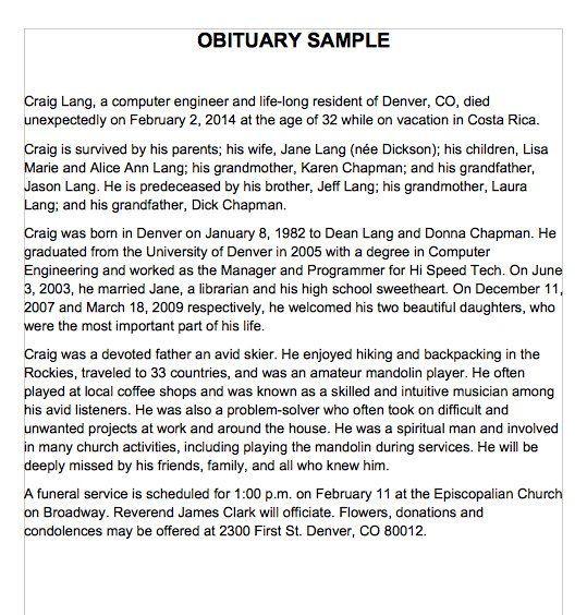 Obituary Sample Template 25 Obituary Templates And Samples Template Lab By Templatelab Com The Obituaries Template Eulogy Examples Obituaries Ideas