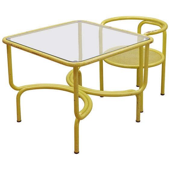 Gae Aulenti Locus Solus Table and Chair for Poltronova | From a unique collection of antique and modern desks and writing tables at https://www.1stdibs.com/furniture/tables/desks-writing-tables/