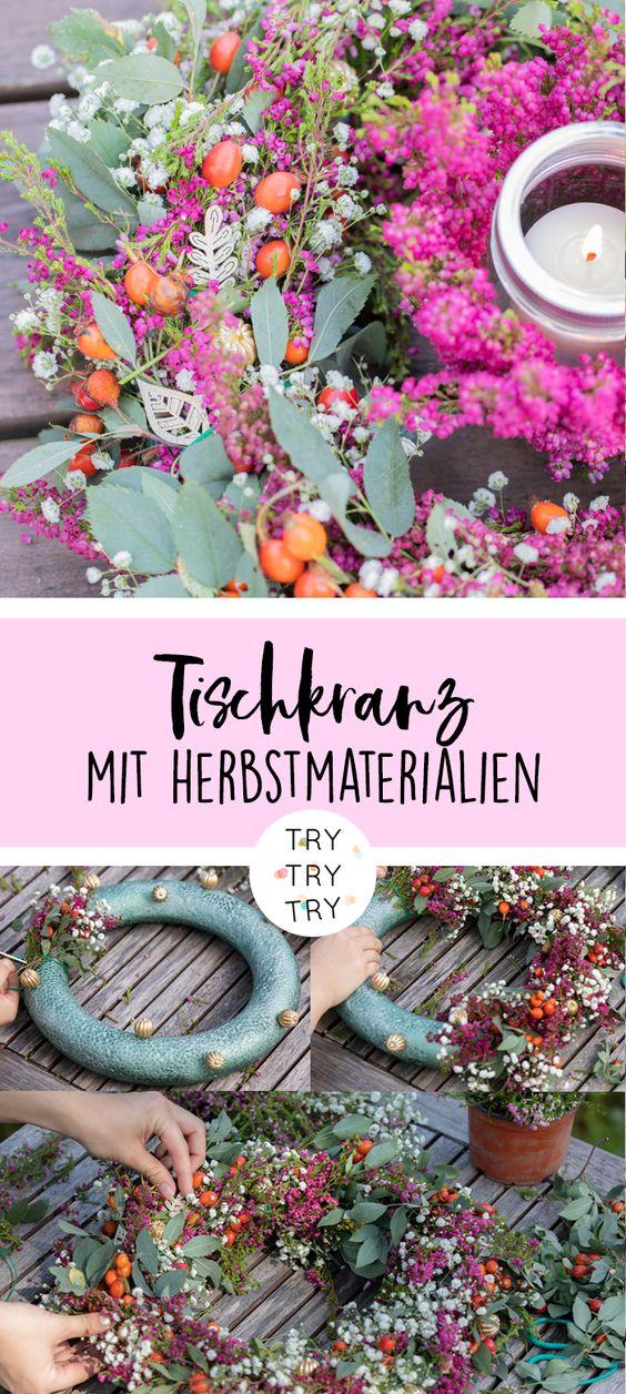 DIY Herbst-Tischkranz mit Heidekraut / Glockenheide | DIY mit Natur | Do it yourself | Natur Materialien | Basteln mit Pflanzen | DIY Deko
