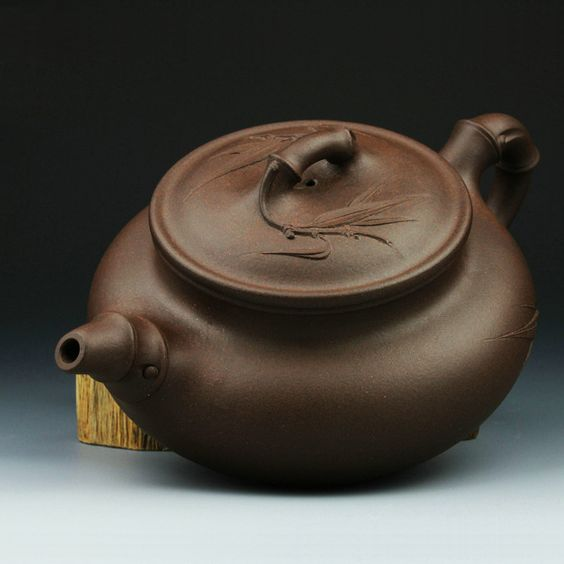 Retro brown bamboo purple clay collectible YiXing teapot - www.artpotterymall.com
