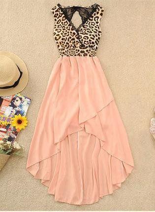 A 071002  V-neck vest sexy leopard chiffon dress
