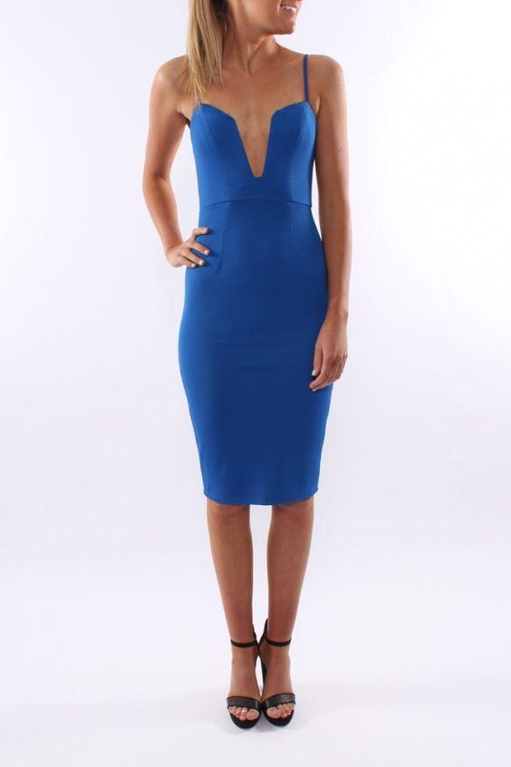 Milan Midi Dress Royal Blue