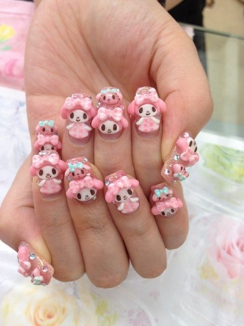 My Melody Nails Kawaii Nail Art Hello Kitty Nails Art Hello Kitty Nails