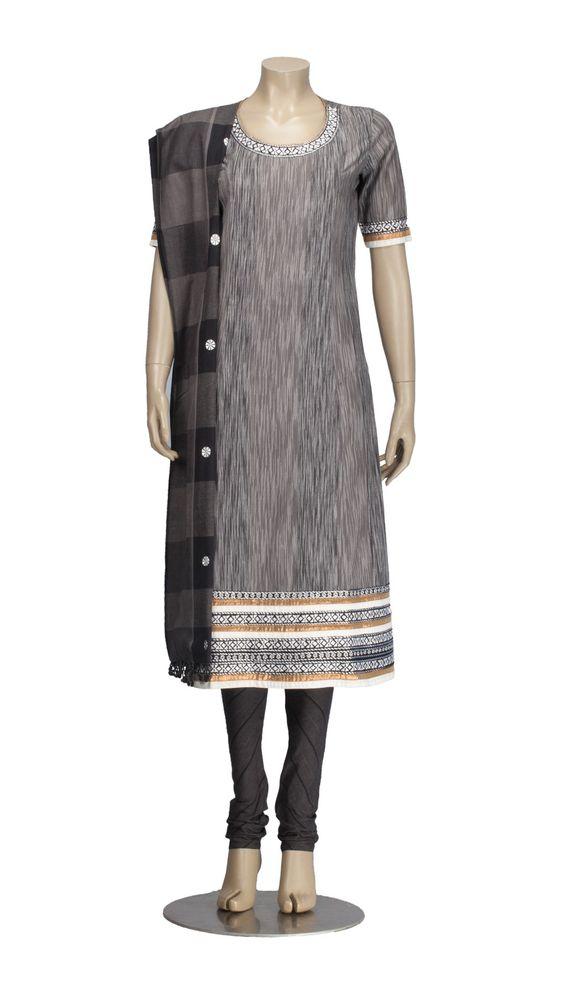 Black and Grey Kantha Embroidered Cotton Shalwar Kameez