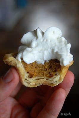 Mini Pumpkin Pies- Great idea for Thanksgiving dessert table