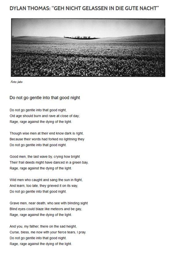 Http Kulturtipp Trendresistent Com 2013 11 11 Dylan Thomas Geh Nicht Gelassen In Die Gute Nacht Gute Nacht Dylan Thomas Gedichte