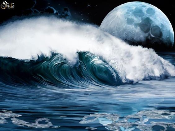 Obra: Noche luna y espuma  90cm x 70cm $750.-
