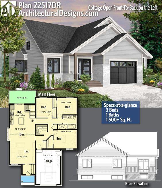 Plan 22517dr Cottage Open Front To Back On The Left Craftsman House Plans Home Design Floor Plans Modern Farmhouse Plans