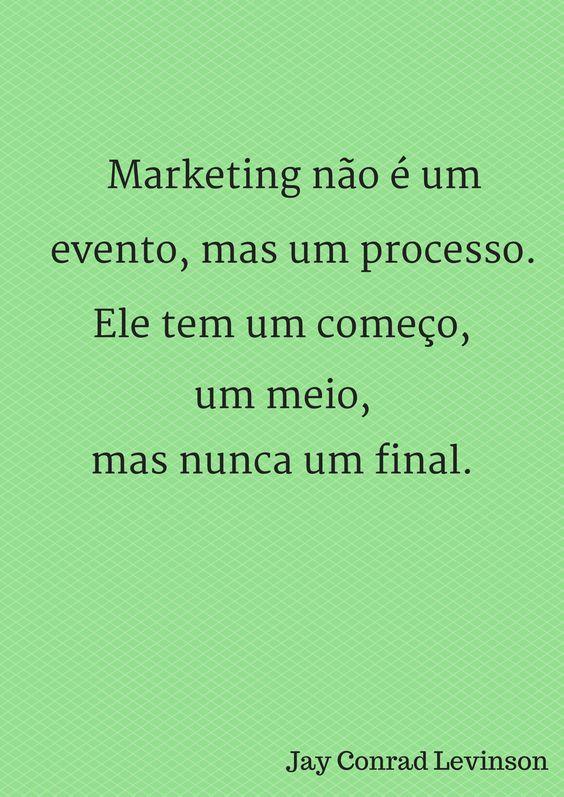 Marketing não é um evento, mas um processo.