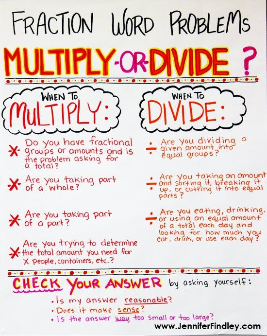 Fraction Word Problems Multiplying And Dividing Fractions Teaching With Jennifer Findley Fraction Word Problems Word Problem Anchor Chart Word Problems