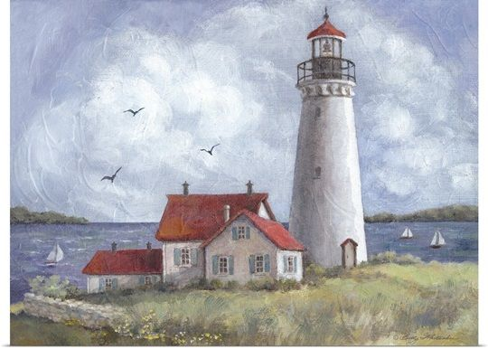 Lighthouse On Bluff Abstract Canvas Painting Lighthouse Art Lighthouse Print