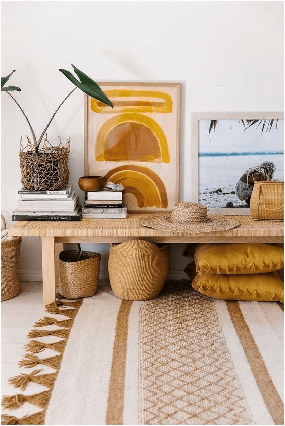 Mustard yellow and gold for Boho Chick living room decor ideas