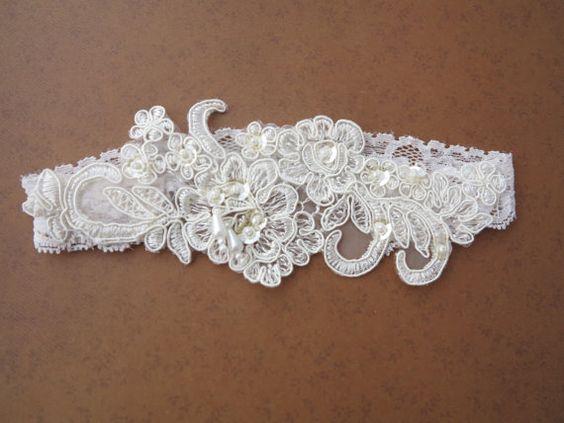 Wedding garter- Lace bridal Garter Set, Vintage Style Wedding garter, Ivory Bridal Garter, Embroidery floral lace garter, Bridal shower gift. $32.00, via Etsy.