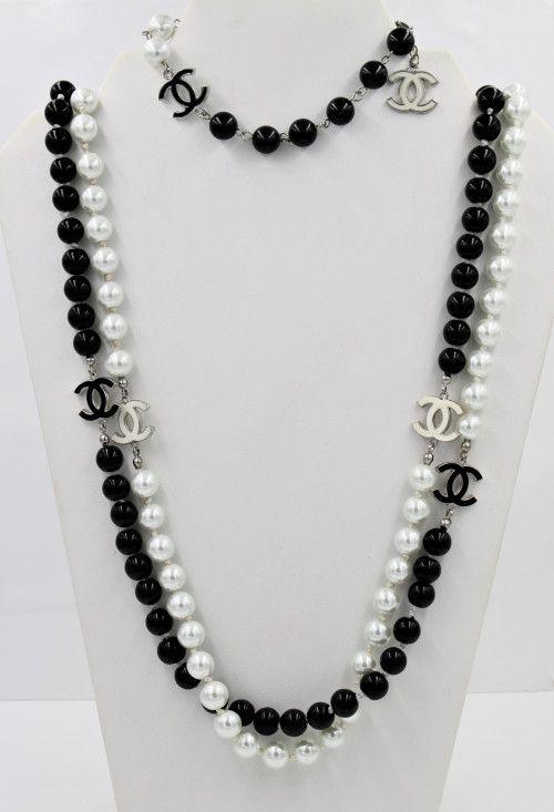 Designer Cc Inspired Logo Glass Pearl Bead Necklace Bracelet Demi
