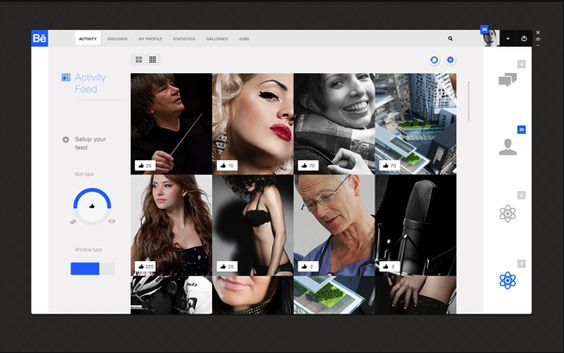 Behance App - http://www.behance.net/gallery/Behance-Feed-App-(-Concept-)/4785155
